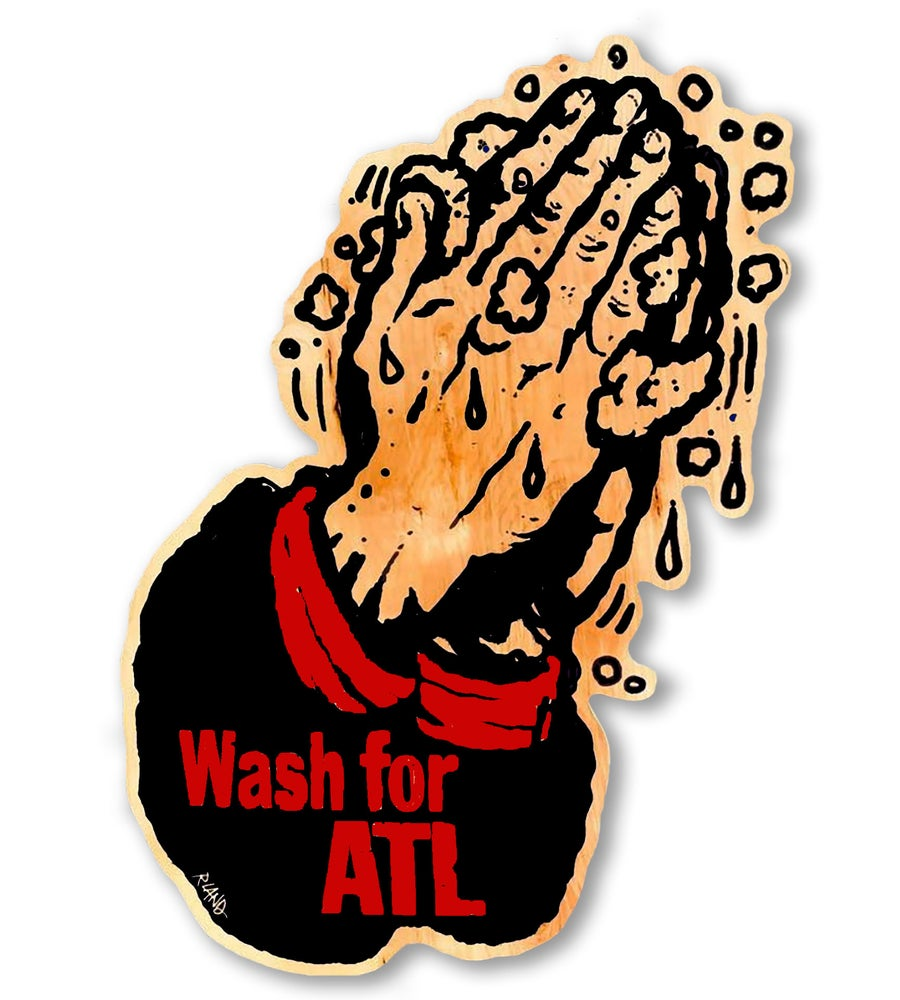 Image of Large Wash for ATL Red/Black Print on Wood