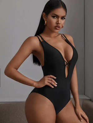 Criss Cross Plunging Swimsuit
