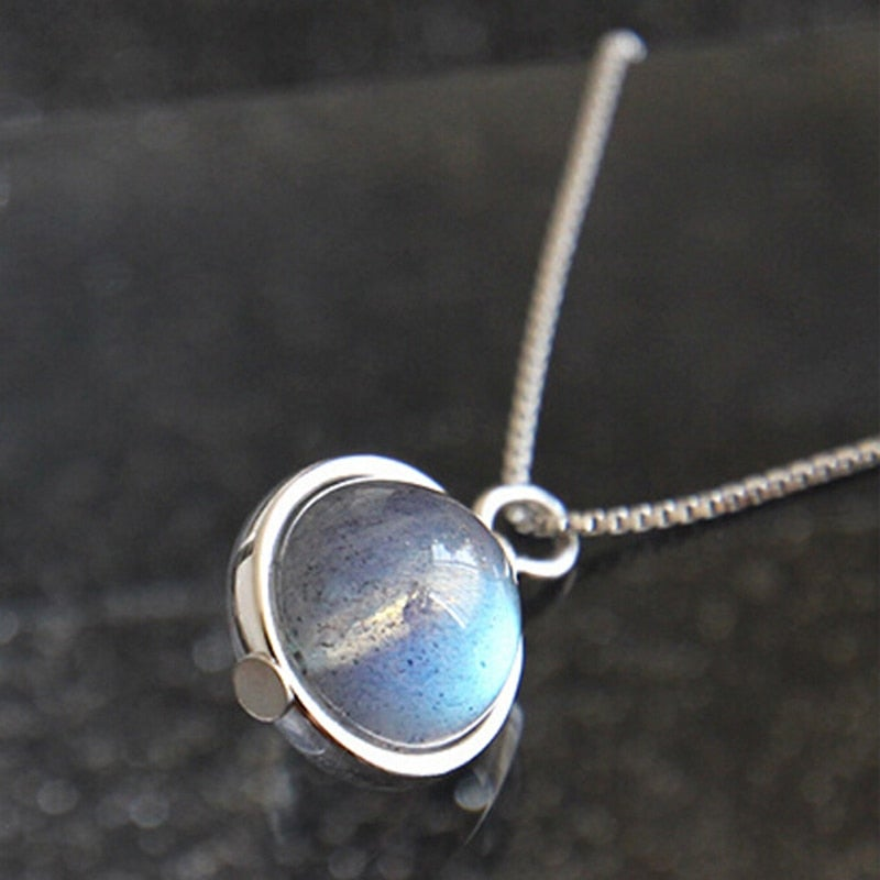 Moonstone Silver (925 Silver Necklace)