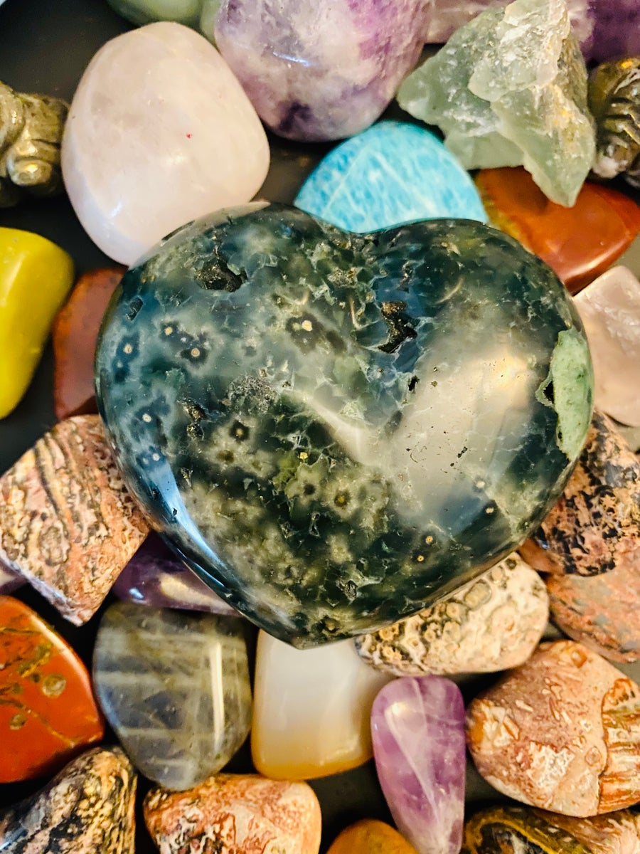 Image of Ocean Jasper Puffy Heart | Home Decor | Office Decoration | Relaxation | Stress Releaf | Natural Cry