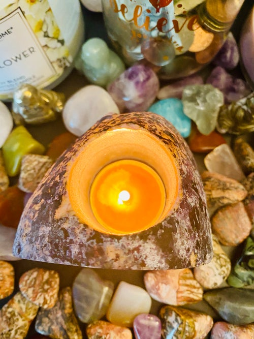 Image of Purple Agate Candle Holder | Natural Crystals | tea light candle