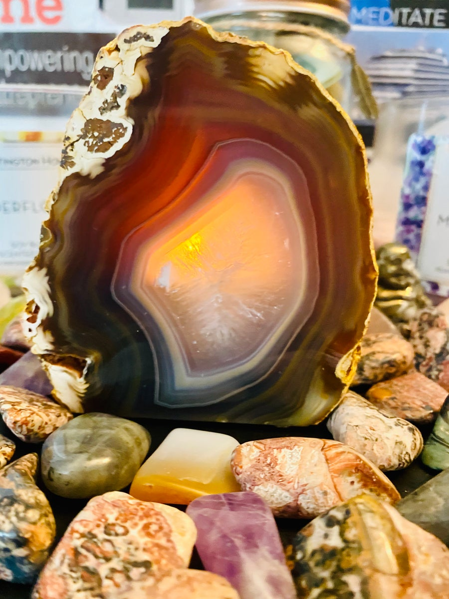 Image of Natural Agate Candle Holder | Natural Crystals | Tea light candle holder | Candles