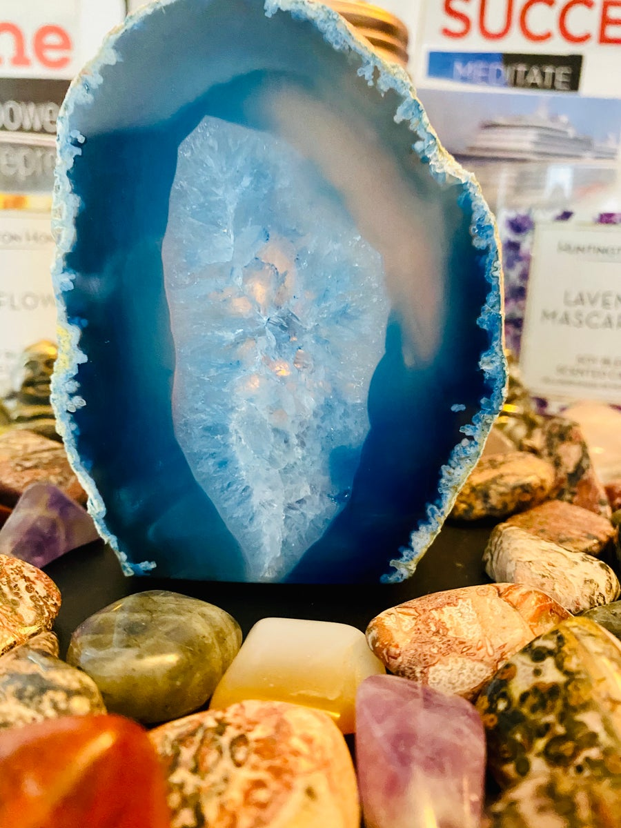 Image of Blue Agate Candle Holder | Natural Crystals | Home Decor | Home Decoration | Tea light candle holder