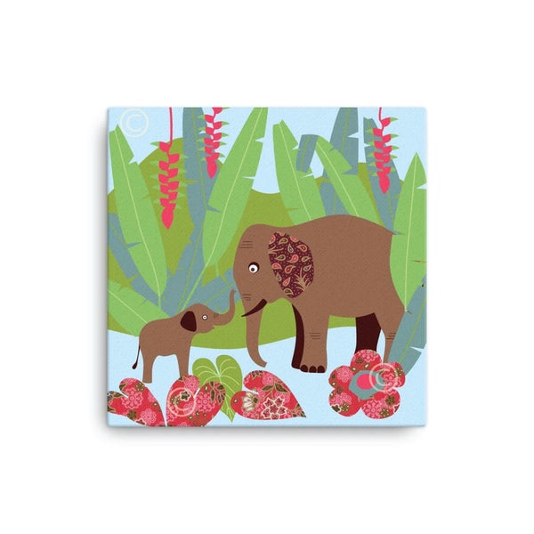 "Image of Elephant + Rafflesia Canvas print 12""x12"" and 16""x16"""