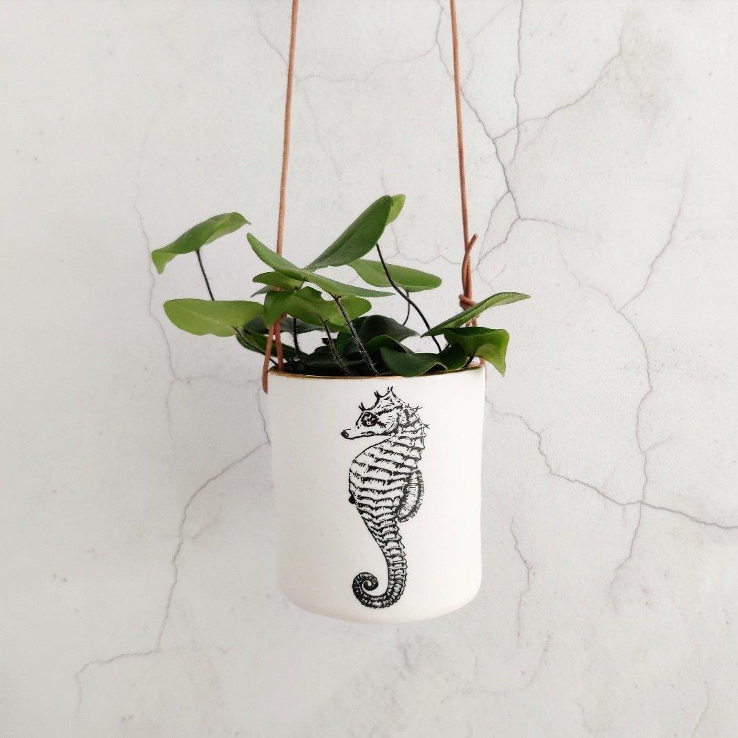 Large porcelain seahorse hanging planter