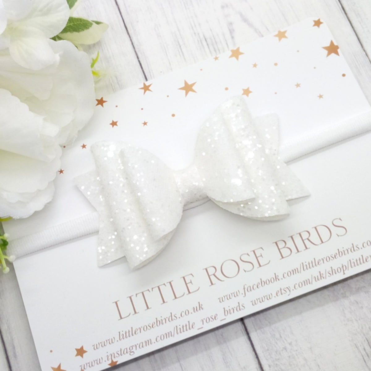 Image of White Glitter Bow - Choice of Headband or Clip