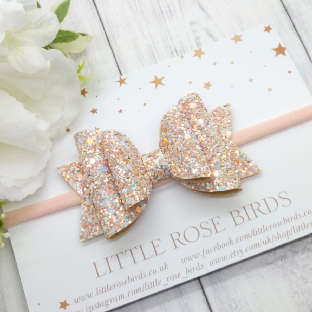 Image of Blush Pink Glitter Bow - Choice of Headband or Clip