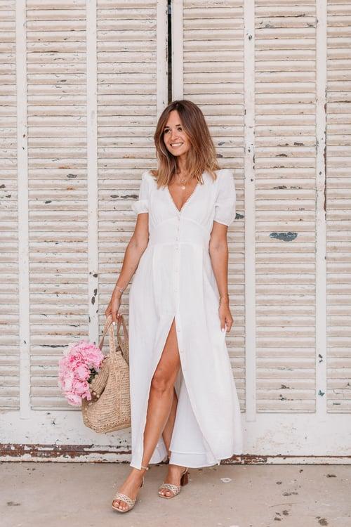 Image of Robe longue MARINA blanc