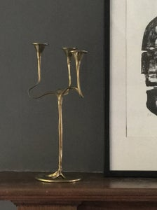 Image of Brass Three-Arm Candlestick of Organic Form