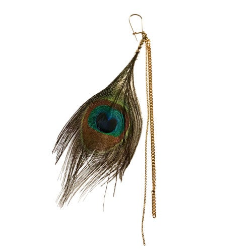 Image of Mono Boucle d'oreille Plume de Paon / Mono Peacock Feather Earring