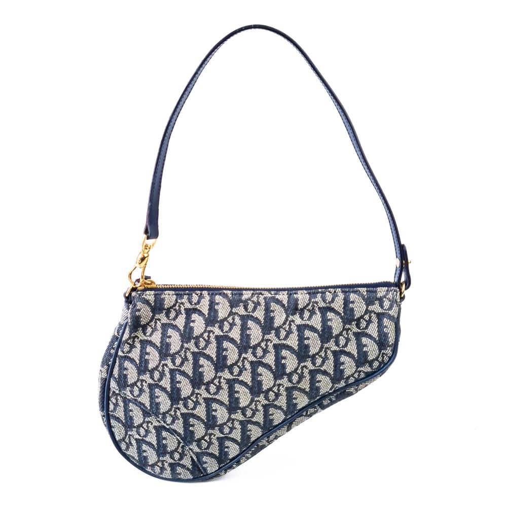 Image of Dior Mini Saddle Bag Navy Blue