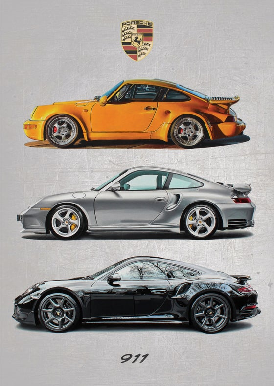 Image of Porsche 911 'Evolution' Poster Print