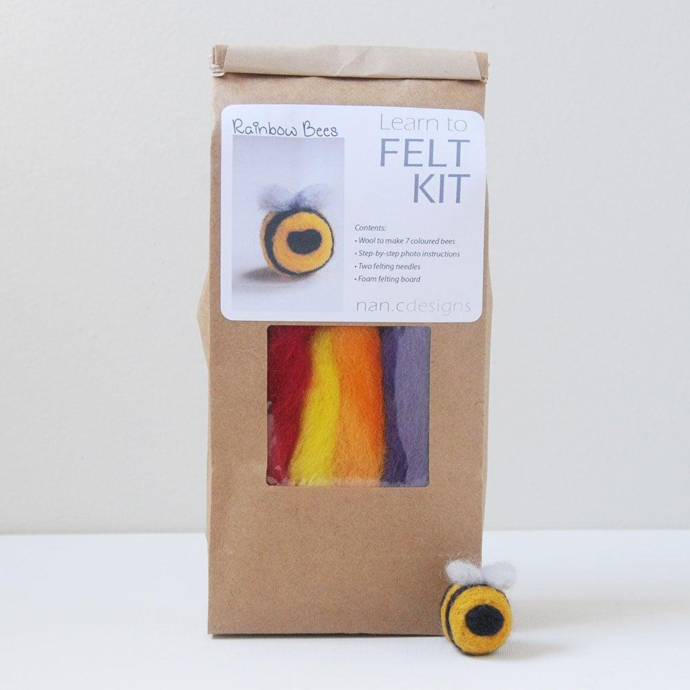 Rainbow Bees - Needle Felting Kit