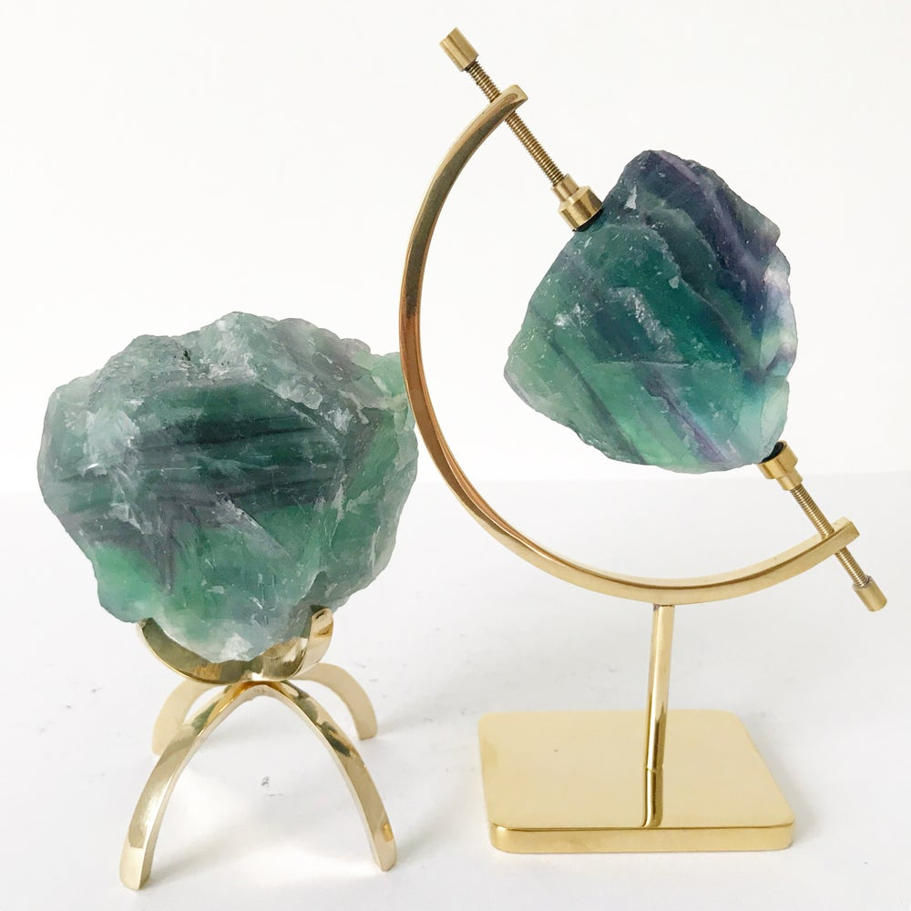 Image of Bicolor Fluorite no.25 + Brass Claw Stand