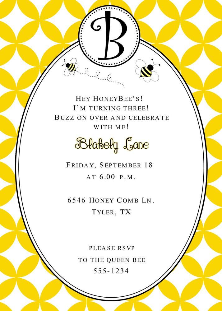 Swell Dandi Designs Bumble Bee Birthday Invitation Funny Birthday Cards Online Ioscodamsfinfo