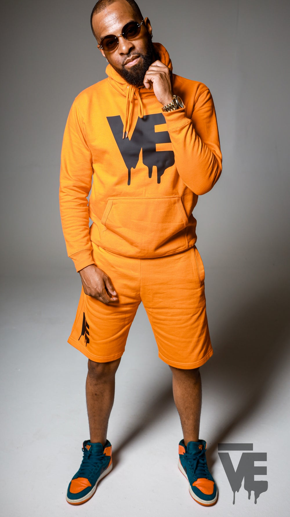 Men's Orange VE Logo Hoodie Short Set