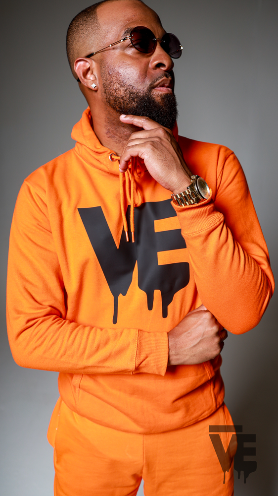 Image of Men's Orange VE Logo Hoodie Short Set