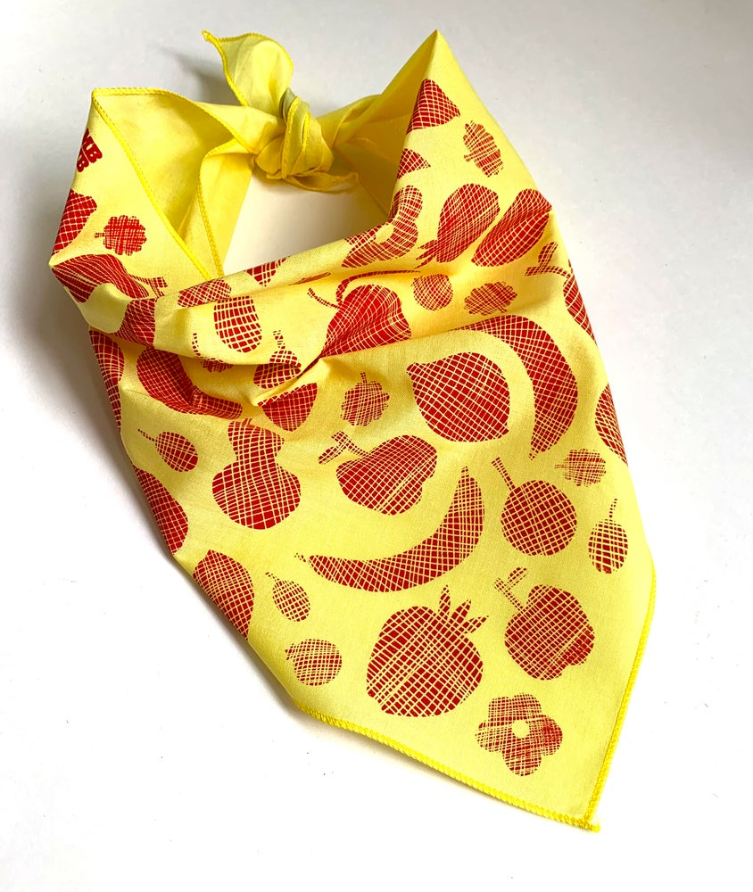 Image of Grid Fruit Print Triangle Bandana
