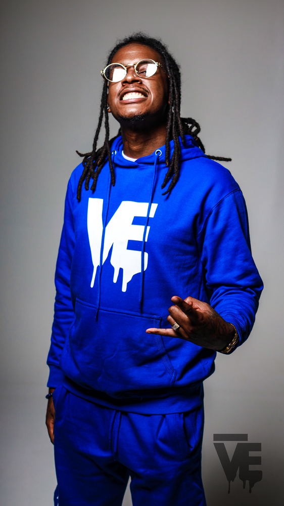 Image of Men's Nipsey Blue VE Logo Hoodie Short Set