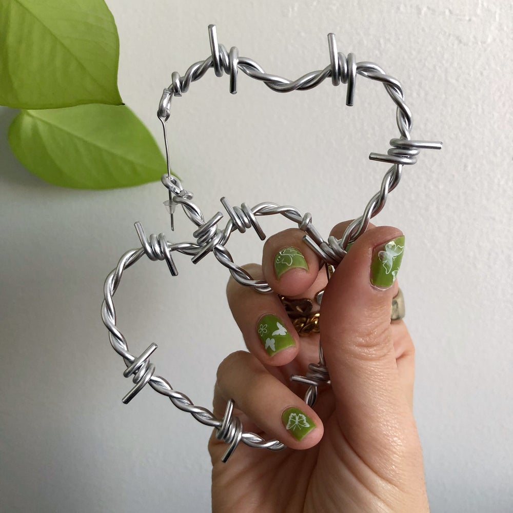 Image of BARBED WIRE SWEETHEART HOOP EARRINGS