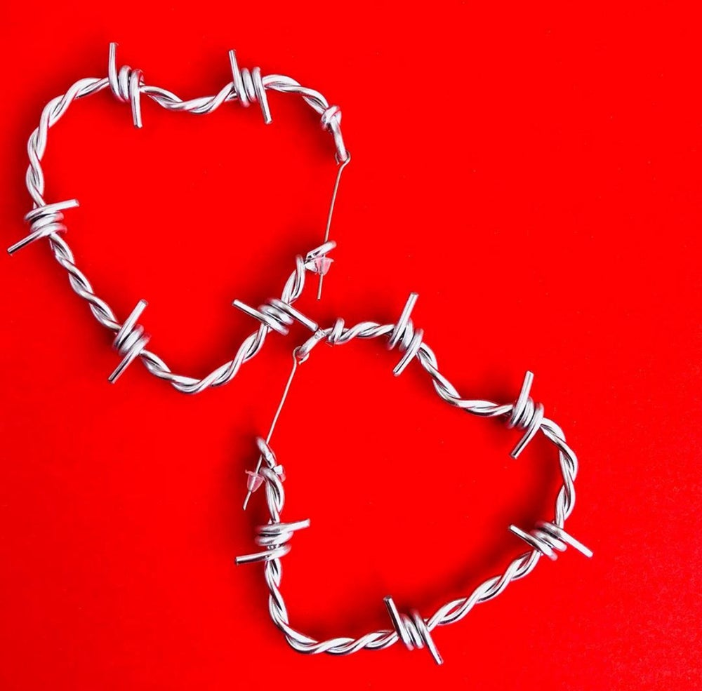 Image of SWEETHEART BARBED WIRE HOOP EARRINGS