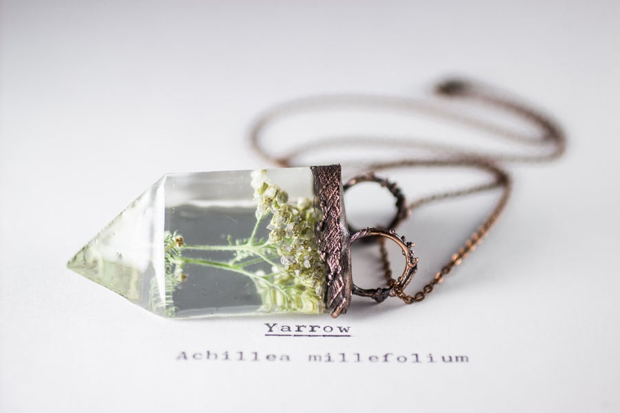 Image of Yarrow (Achillea millefolium) - Small Copper Prism Necklace #2