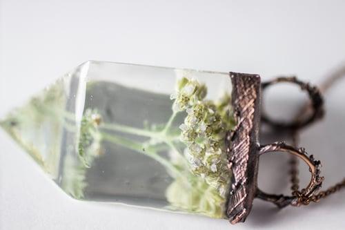 Image of Yarrow (Achillea millefolium) - Small Copper Prism Necklace #2