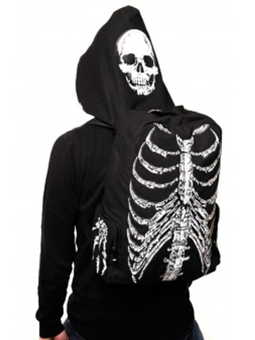 Image of BANNED APPAREL SKELETON HOODED BACKPACK