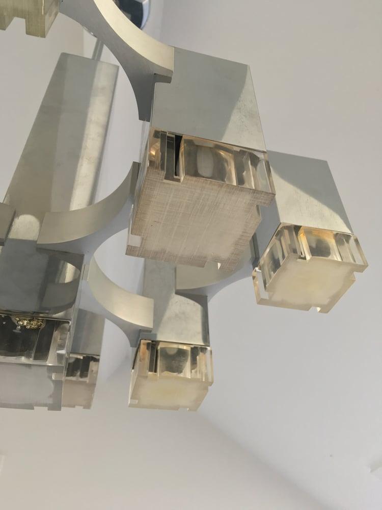"Image of 9 Light ""Cubic"" Chandelier by Sciolari"