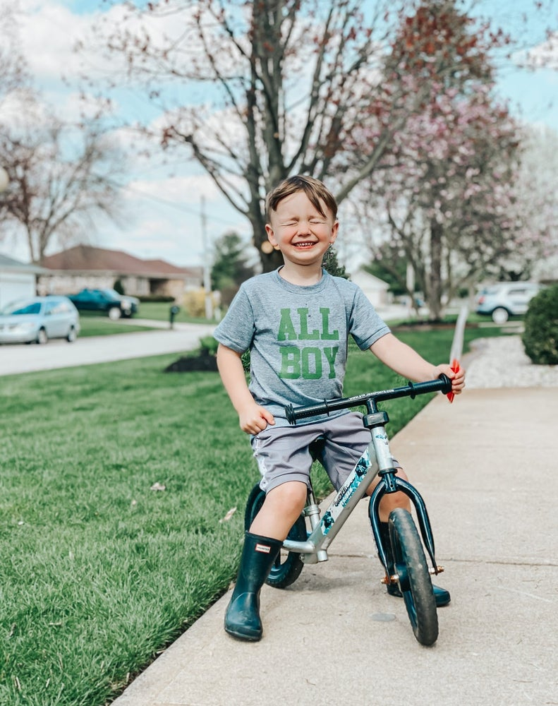 Image of CLASSIC ALL BOY TEE (ARMY GREEN ON GRAY)