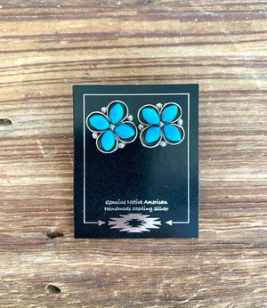 Zuni Turquoise Flower Earrings