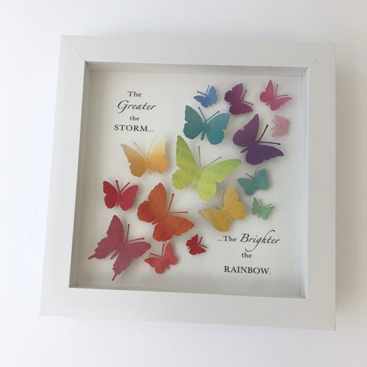 Rocket & Co. -'The Brighter the rainbow' Butterfly quote artwork