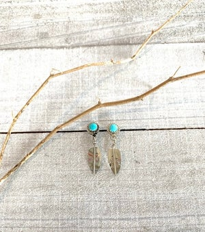 Indian Feather Turquoise Earrings