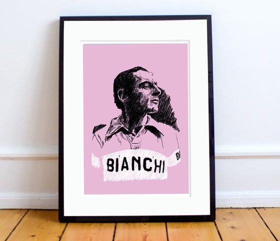 Image of Fausto portrait (Maglia Rosa) print A4 or A3 - By Jason Marson