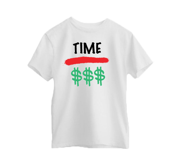 "White ""Time Over Money"" Tee"