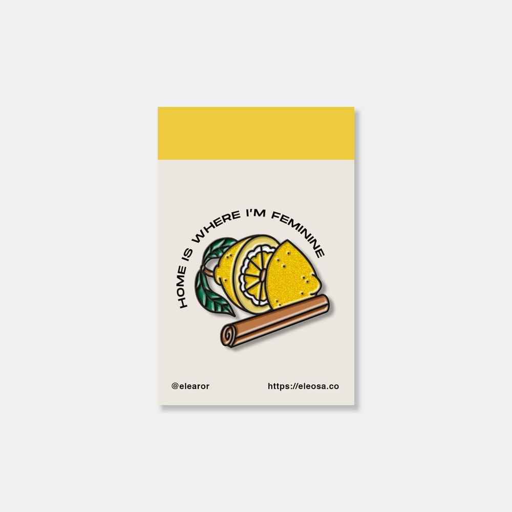 Image of citrus & cinnamon hard enamel glitter pin