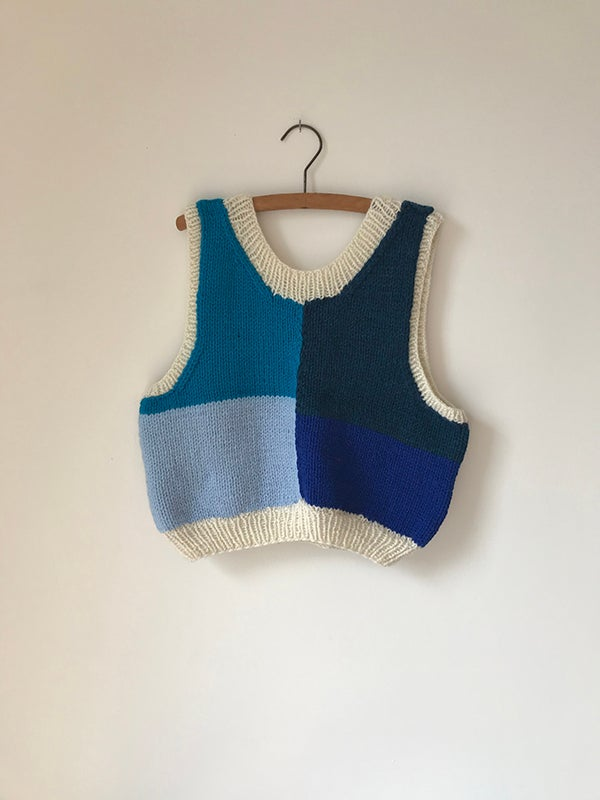 Image of Hand Knitted Vest - Blues/White