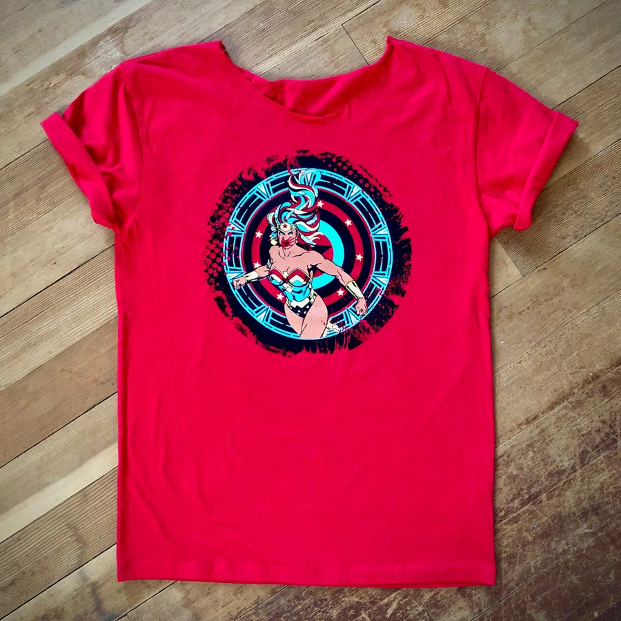 Image of Red Super Power Swoop Tee