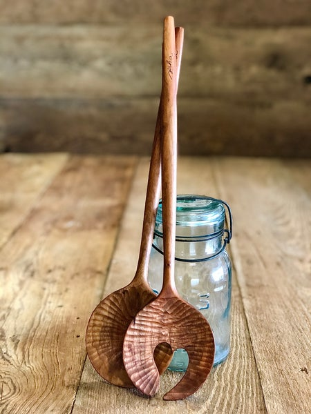 Image of Hand carved  salad spoon set