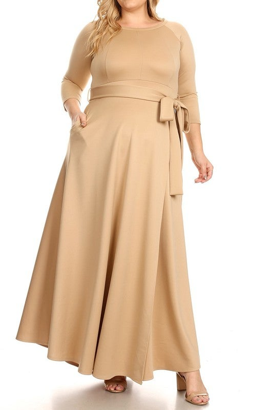 Image of Tan Maxi Wrap Dress