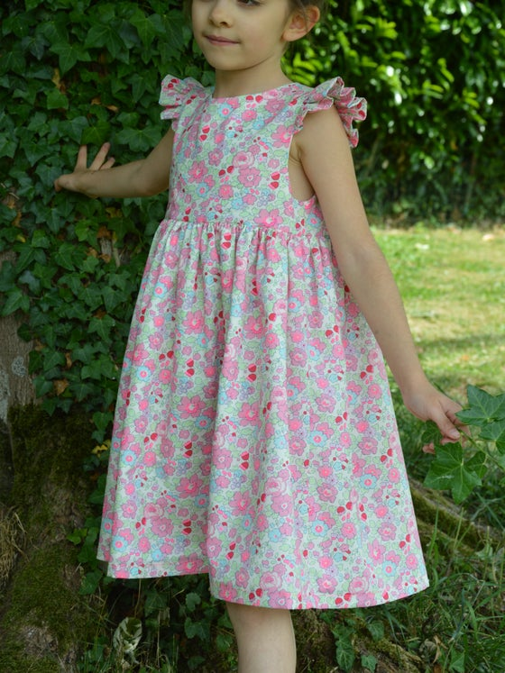 Image of Robe liberty betsy tartelette manches a petits volants