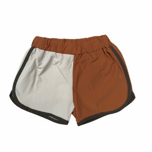 Image of Split coloured shorts rust and stone colour