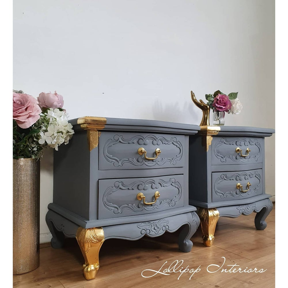 Image of Bedside tables in grey with gold leaf accents