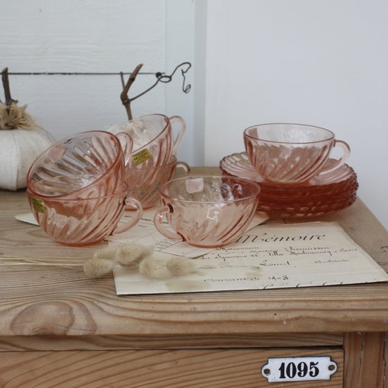 Image of Service 6 tasses + 6 sous tasses en verre rosaline Arcoroc