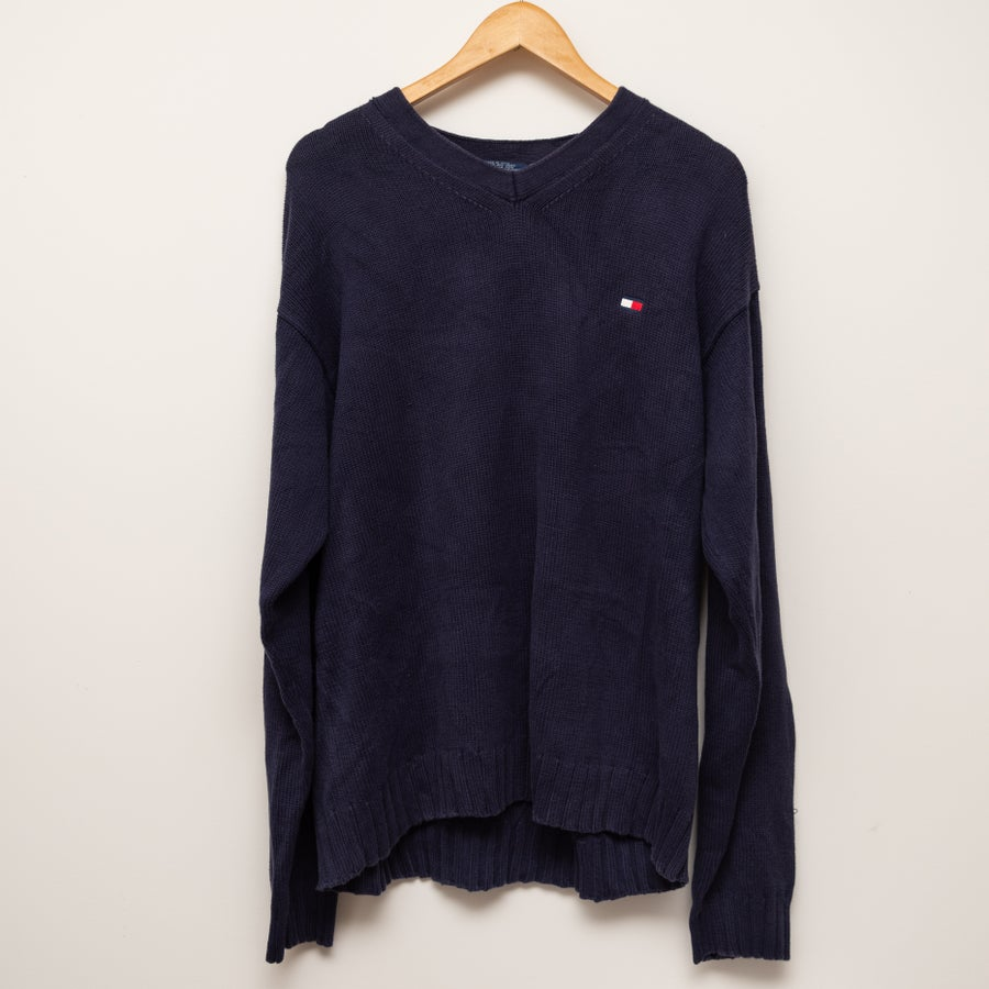 Image of Tommy Hilfiger Navy V Neck Sweater
