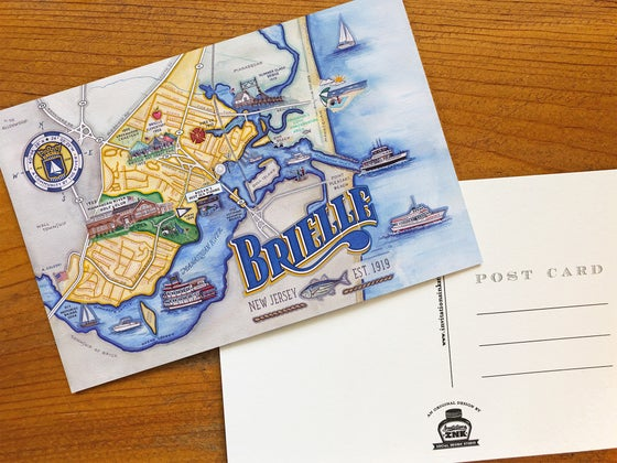 Image of Jersey Shore Illustrated Map Postcards
