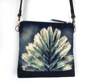 Image of Velvet shoulder bag with cross-body leather strap, silverweed