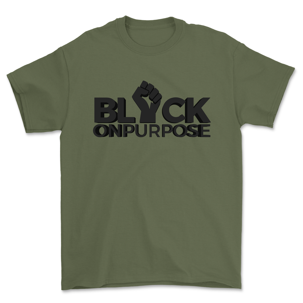 "Image of Adult Military Green ""Black On Purpose"" Tee"