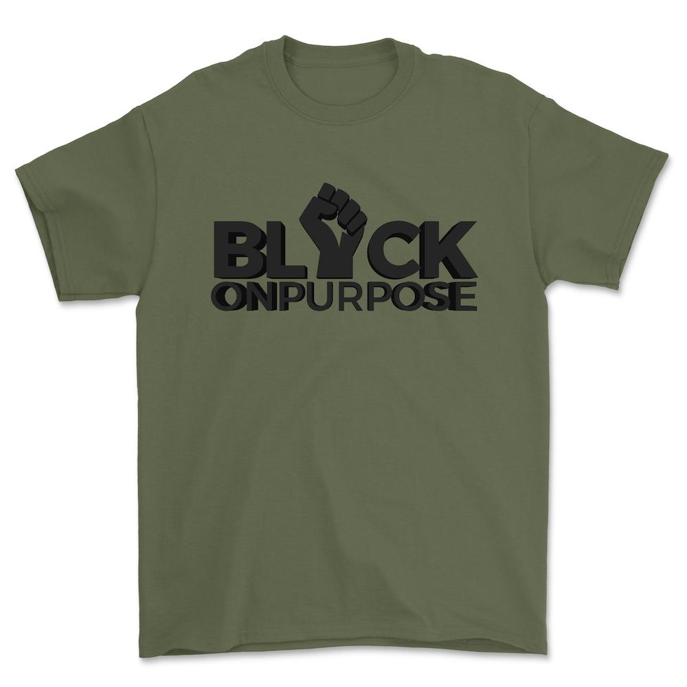 "Image of Adult Military Green ""Black On Purpose"" Tee"