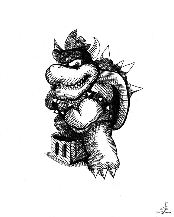 Image of Bowser 8x10 Inking